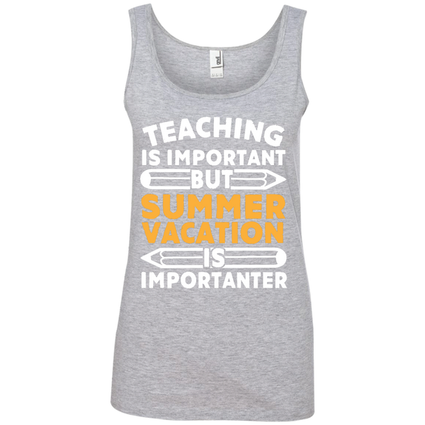 Teaching is important but Summer vacation is importanter  100% Ringspun Cotton Tank Top - TeachersLoungeShop - 2