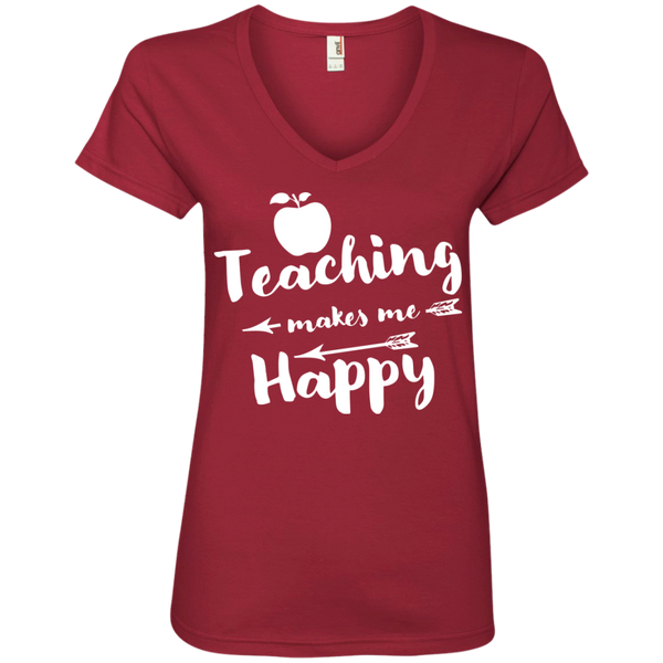 Teaching makes me Happy  Ladies  V-Neck Tee - TeachersLoungeShop - 3