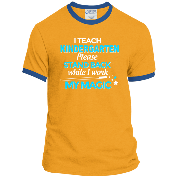 I Teach Kindergarten Please Stand Back While I Work My Magic Ringer Tee - TeachersLoungeShop - 4