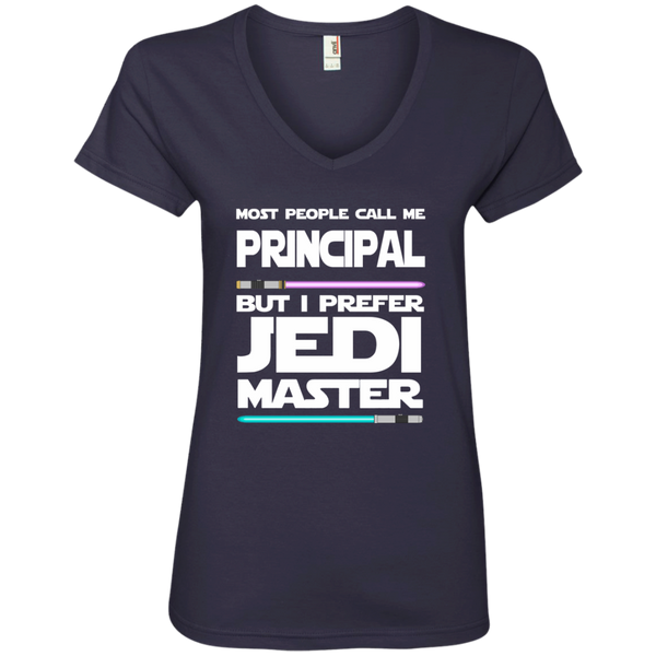 Most People Call Me Principal But I Prefer Jedi Master Ladies' V-Neck Tee - TeachersLoungeShop - 4