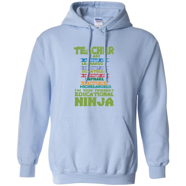 Teacher I'm Your Friendly Educational Ninja Pullover Hoodie 8 oz - TeachersLoungeShop - 8