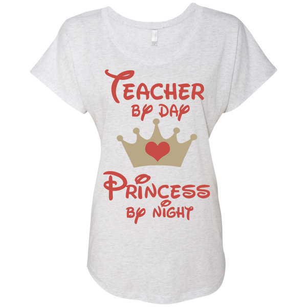 Teacher by Day Princess by Night Next Level Ladies Triblend Dolman Sleeve - TeachersLoungeShop - 3