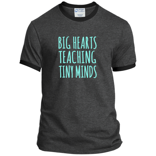 Big Hearts Teaching Tiny Minds Ringer Tee - TeachersLoungeShop - 3