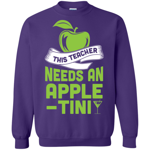 THIS TEACHER NEEDS AN APPLE-TINI Crewneck Pullover Sweatshirt  8 oz - TeachersLoungeShop - 7