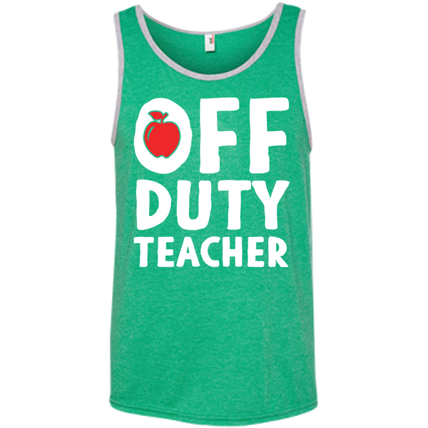 Off Duty Teacher  Ringspun Cotton Tank Top - TeachersLoungeShop - 3