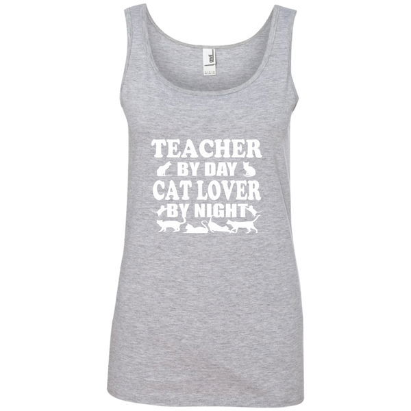 Teacher by Day Cat Lover by Night Ladies' 100% Ringspun Cotton Tank Top - TeachersLoungeShop - 2
