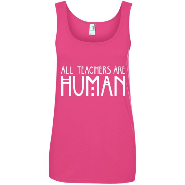 All Teachers Are Human Ladies' 100% Ringspun Cotton Tank Top - TeachersLoungeShop - 2