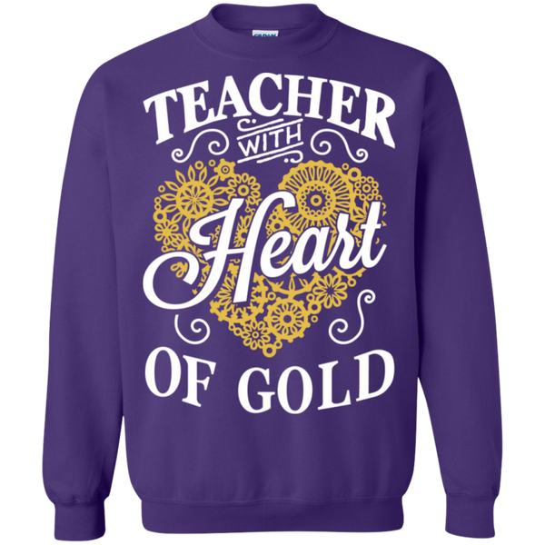 Teacher with Heart of Gold  Crewneck Pullover Sweatshirt  8 oz - TeachersLoungeShop - 5
