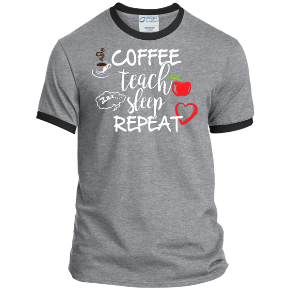 Coffee Teach Sleep Repeat Ringer Tee - TeachersLoungeShop - 2