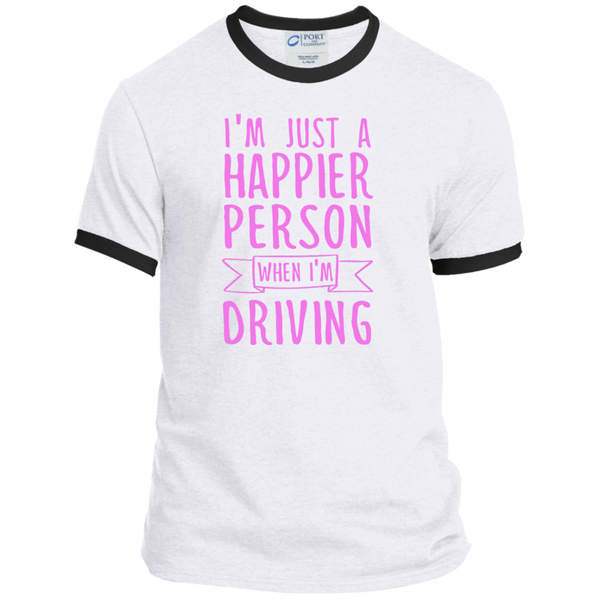I'm Just a Happier Person When I'm Driving Ringer Tee - TeachersLoungeShop - 2