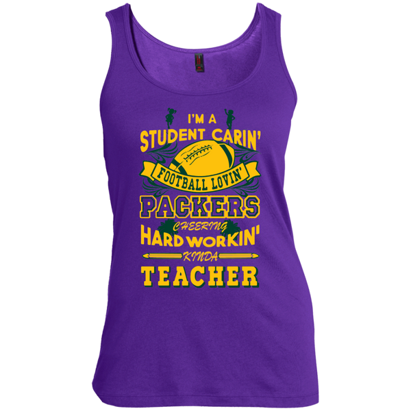 Student Caring Loving Cheering Packers Teacher  Scoop Neck Tank Top - TeachersLoungeShop - 3