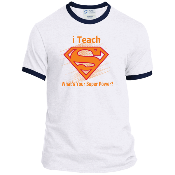 i Teach What's Your Superpower Ringer Tee - TeachersLoungeShop - 4