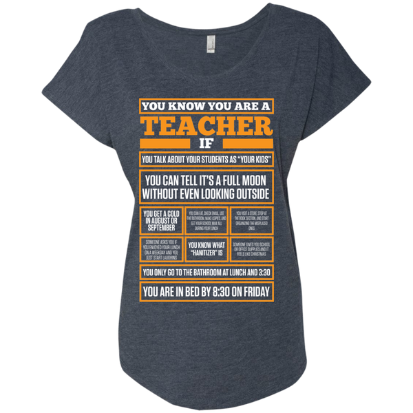You know You are a Teacher if    Level Ladies Triblend Dolman Sleeve - TeachersLoungeShop - 5