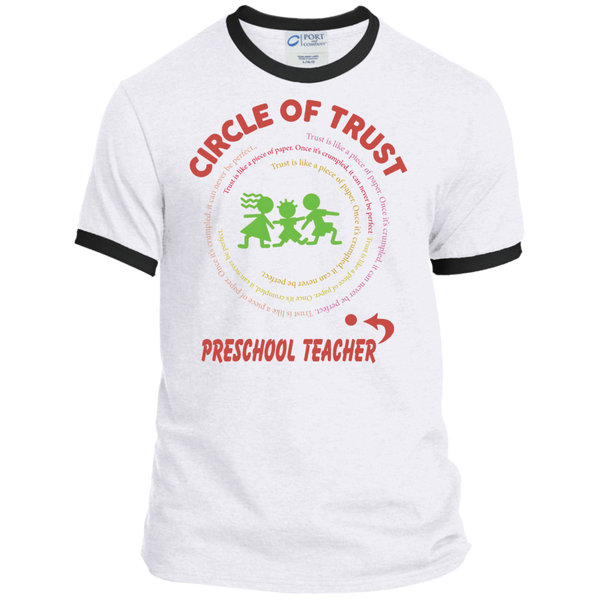 Preschool Teacher Circle of Trust Ringer Tee - TeachersLoungeShop - 1