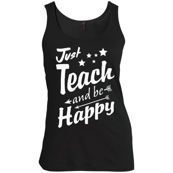 Just Teach and Be Happy  Women's  Scoop Neck Tank Top - TeachersLoungeShop - 2