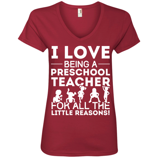I Love being a Preschool Teacher for all the little reason Ladies' V-Neck Tee - TeachersLoungeShop - 3