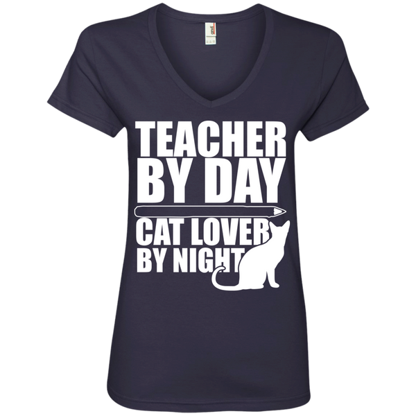 Teacher by Day Cat Lover by Night V-Neck Tee - TeachersLoungeShop - 4
