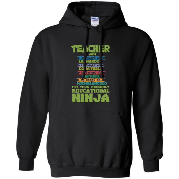 Teacher I'm Your Friendly Educational Ninja Pullover Hoodie 8 oz - TeachersLoungeShop - 1