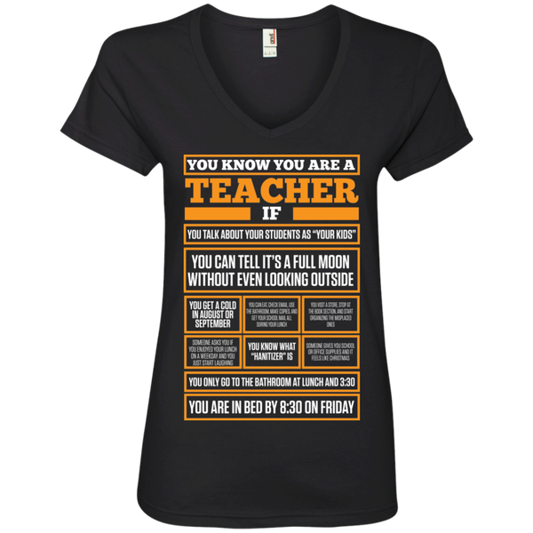 You know You are a Teacher if  Ladies ' V-Neck Tee - TeachersLoungeShop - 1