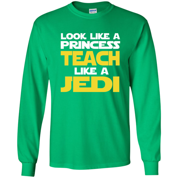Look Like a Princess Teach Like a Jedi LS Ultra Cotton Tshirt - TeachersLoungeShop - 4