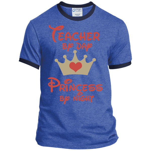 Teacher by Day Princess by Night Ringer Tee - TeachersLoungeShop - 8