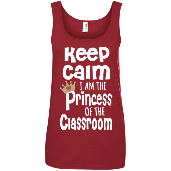 Keep Calm I am the Princess of the Classroom Ladies' 100% Ringspun Cotton Tank Top - TeachersLoungeShop - 4