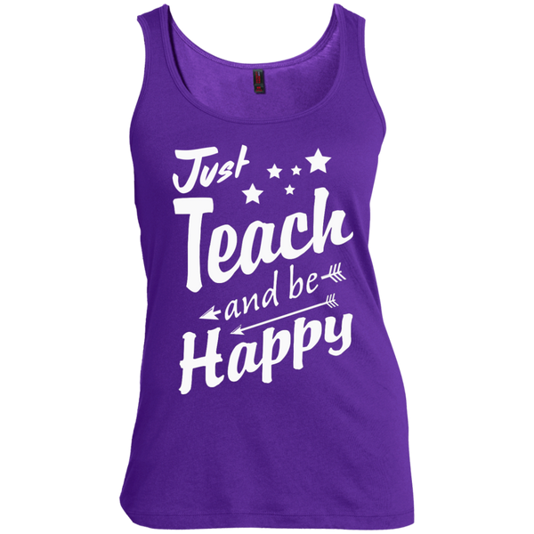 Just Teach and Be Happy  Women's  Scoop Neck Tank Top - TeachersLoungeShop - 5