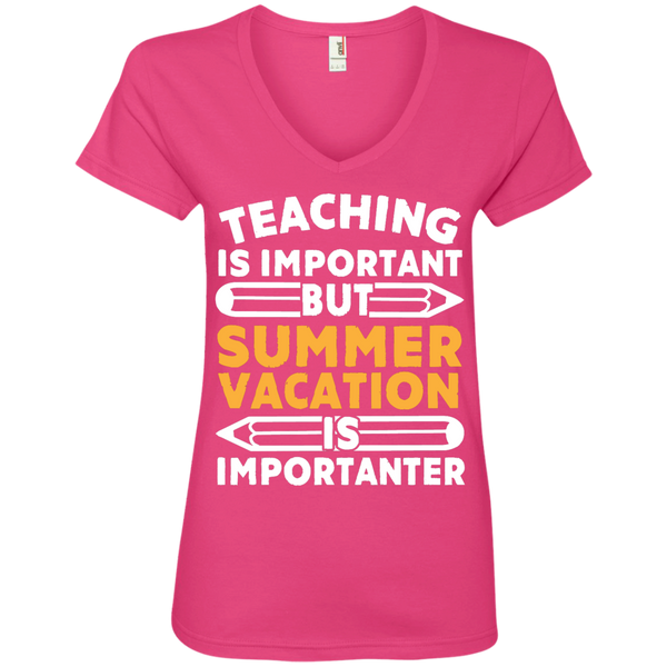 Teaching is important but Summer vacation is importanter  V-Neck Tee - TeachersLoungeShop - 2