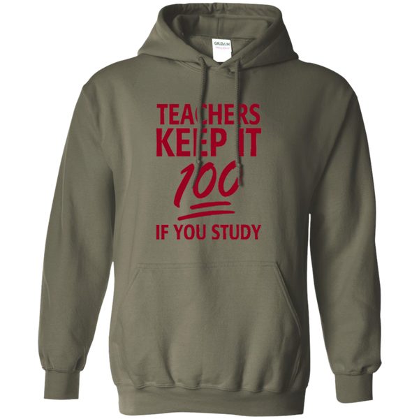 Teachers keep It 100 If You Study Pullover Hoodie 8 oz - TeachersLoungeShop - 7