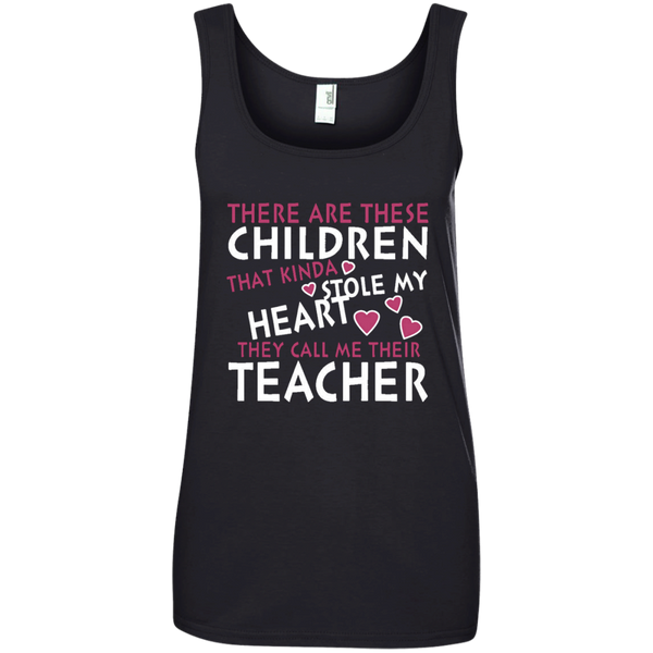There are these Children that Kinda Stole My Heart They call Me Their Teacher Ladies' 100% Ringspun Cotton Tank Top - TeachersLoungeShop - 3