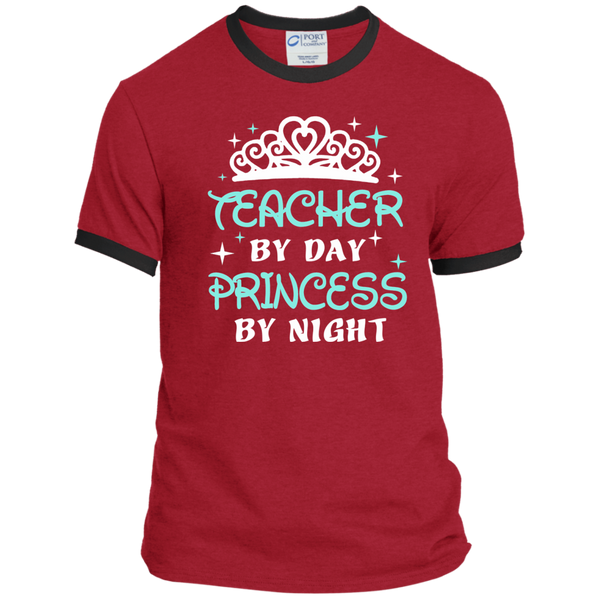 Teacher By Day Princess By Night ver2 Ringer Tee - TeachersLoungeShop - 7