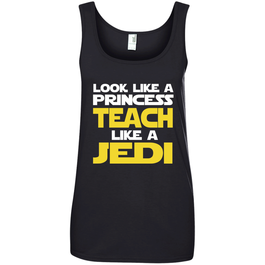 Look Like a Princess Teach Like a Jedi Ladies' 100% Ringspun Cotton Tank Top - TeachersLoungeShop - 1