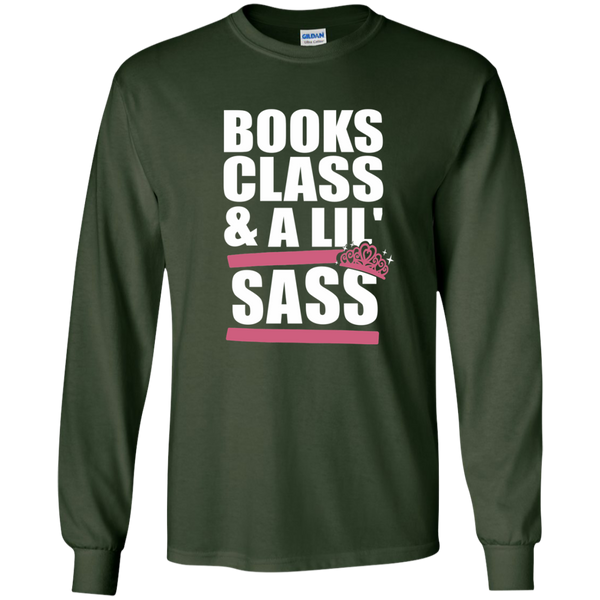 Books Class and A Little Sass LS Ultra Cotton Tshirt - TeachersLoungeShop - 5