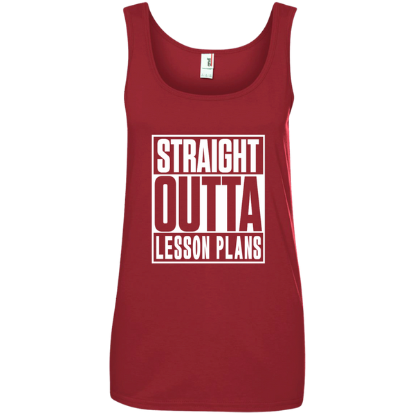 Straight Outta Lesson Plans Ladies' 100% Ringspun Cotton Tank Top - TeachersLoungeShop - 3