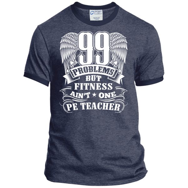 99 Problems But Fitness Ain't One PE Teacher Ringer Tee - TeachersLoungeShop - 5