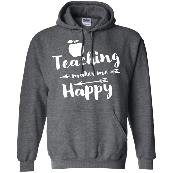 Teaching makes me Happy     Hoodie 8 oz - TeachersLoungeShop - 3