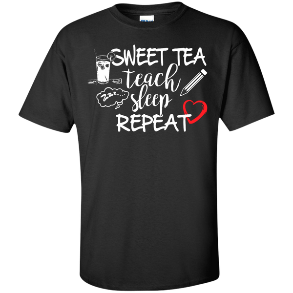 Sweet Tea Teach Sleep Repeat  T-Shirt - TeachersLoungeShop - 1
