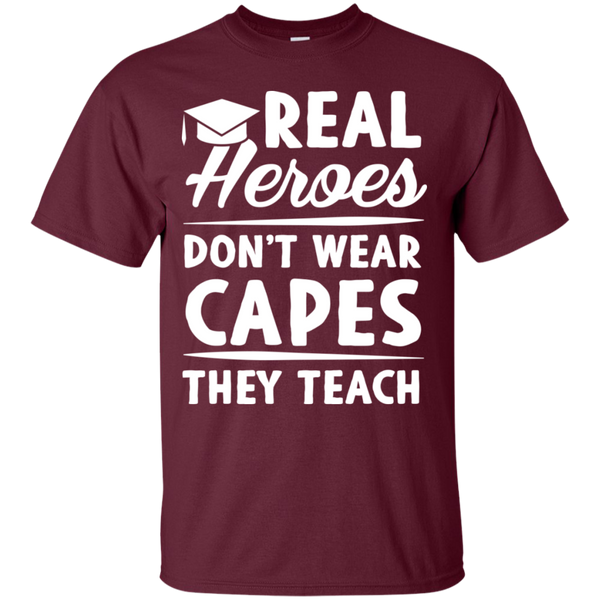 Real Heroes Dont wear capes They Teach T-Shirt - TeachersLoungeShop - 5
