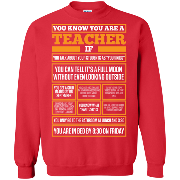 You know You are a Teacher if  Crewneck Pullover Sweatshirt  8 oz - TeachersLoungeShop - 3