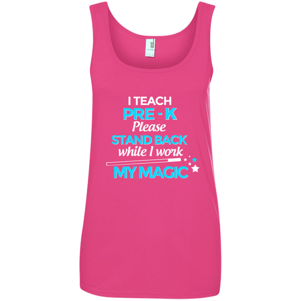 I Teach Pre K Please Stand Back While I Work My Magic Ladies' 100% Ringspun Cotton Tank Top - TeachersLoungeShop - 2