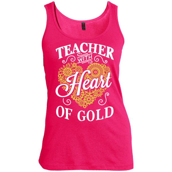 Teacher with Heart of Gold  Scoop Neck Tank Top - TeachersLoungeShop - 2