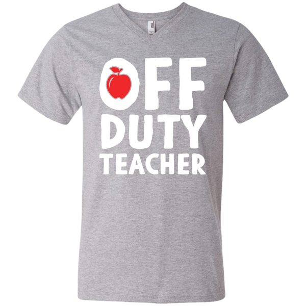 Off Duty Teacher  Men's Printed V-Neck T - TeachersLoungeShop - 1