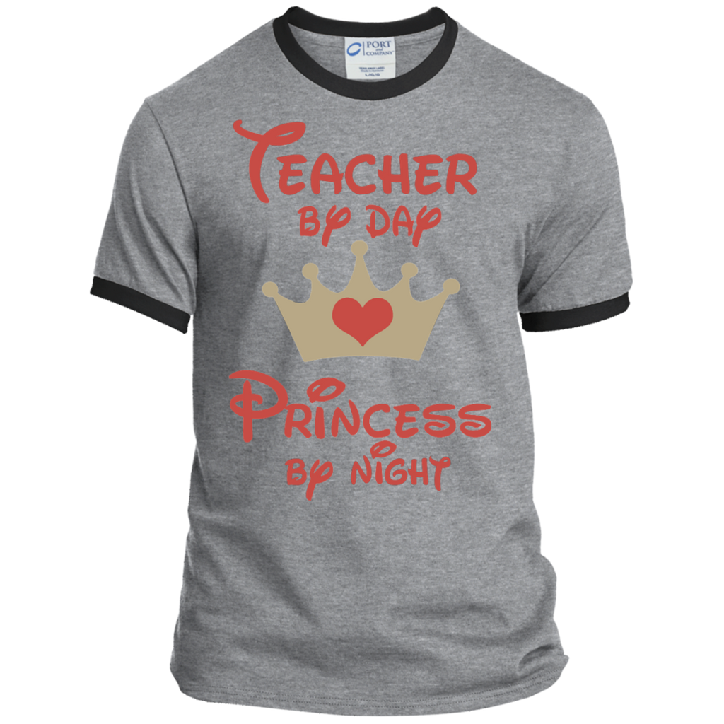 Teacher by Day Princess by Night Ringer Tee - TeachersLoungeShop - 1