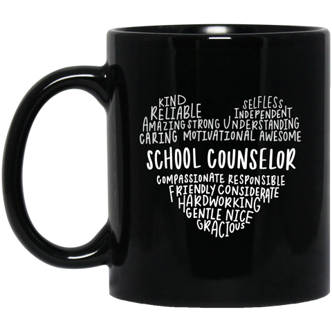 School counselor heart    11 oz. Black Mug