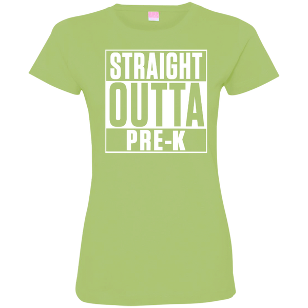 Straight Outta Pre-K   Custom Fine Jersey T-Shirt - TeachersLoungeShop - 5