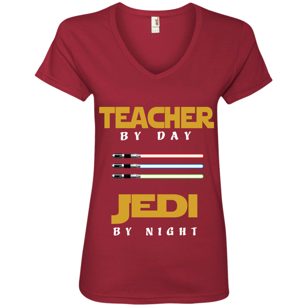 Teacher by Day Jedi by Night Ladies' V-Neck Tee - TeachersLoungeShop - 3