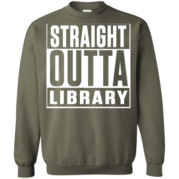 Straight Outta Library Pullover Sweatshirt  8 oz - TeachersLoungeShop - 8