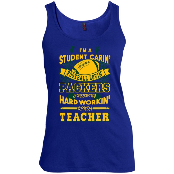 Student Caring Loving Cheering Packers Teacher  Scoop Neck Tank Top - TeachersLoungeShop - 2