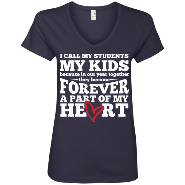 I call my students my kids   V-Neck Tee - TeachersLoungeShop - 2
