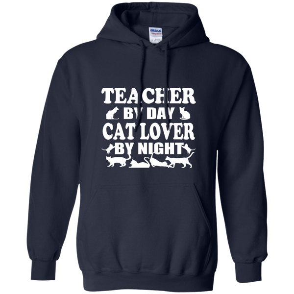 Teacher by Day Cat Lover by Night Pullover Hoodie 8 oz - TeachersLoungeShop - 2